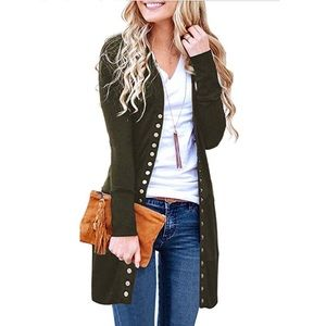 Down Solid Army Green Knit Ribbed Cardigan